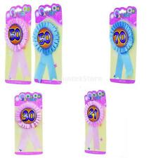 """""""21"""" """"30"""" """"50"""" """"70"""" Badge Pink or Blue Pin Style Badge Ribbon Rosette"""