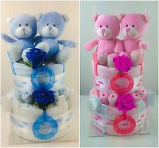 Luxury 2 Tier Double Twin Baby Girl Boy Shower Nappy Cake Unique Gift 378 379