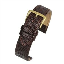 Mens genuine real brown leather lizard grain quality watch strap band 18mm