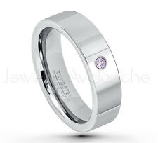 0.07ct Amethyst Solitaire Ring, February Birthstone, Pipe Cut Tungsten Ring #020
