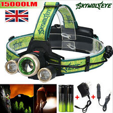 15000Lm Outdoor Headlamp CREE XM-L 3x T6 LED Headlight Light + Charger + Battery