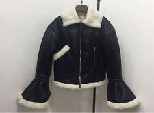 Ruffle Bell Sleeves Faux Leather Fur Collar Biker Black Jacket