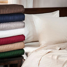 """600-Thread-Count 8"""" Extra Deep Pocket 1PC Soft Fitted Sheet Striped 100% Cotton."""