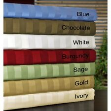 """800-Thread-Count 1PC Soft Fitted Sheet Striped 100%Cotton 20"""" Extra Deep Pocket"""