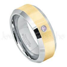 0.07ct Amethyst Solitaire Ring, February Birthstone, 2-Tone Tungsten Ring #024