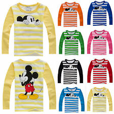 Baby Boys Girls Kids Micky Mouse Long Sleeve T-shirt Tops Blouse Striped Clothes