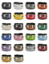 Men's Belt Reversible Wide Bonded Leather Silver-Tone Buckle Over 20 Colors