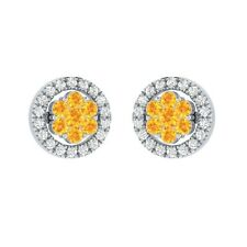 0.45 ct Round Yellow Citrine & Sapphire Solid Gold Flower Cluster Stud Earrings