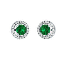 1.20 ct Green Emerald & White Sapphire Solid Gold Stud Earrings For Womens