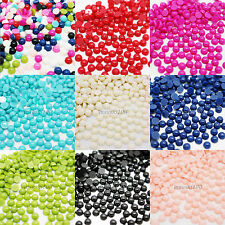1000 PEARLS ROUND FLAT BACK ACRYLIC GEMS NAIL ART CRAFTS 3D DECORATION NEW