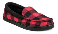 Impressions By Isotoner® Red Buffalo Check Moccasin Slippers w Memory Foam - NEW