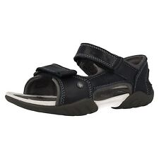 Boys Clarks Leather Riptape Fastening Air Spring Sandals - Mirlo Deck
