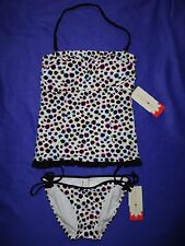 NWT Hula Honey BANDEAU dots TANKINI top string bikini bottom M swimsuit JUNIORS