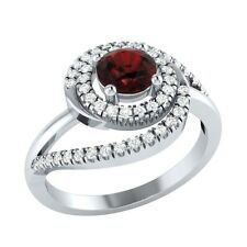 0.74ct Round Cut Garnet & White Sapphire Solid Gold Engagement Wedding Ring