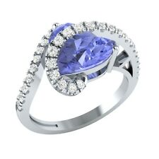 3.35ct Heart & Round Tanzanite & White Sapphire Solid Gold Heart Promise Ring