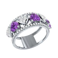 1.94ct Heart & Round Cut Amethyst & White Sapphire Solid Gold Heart Ring