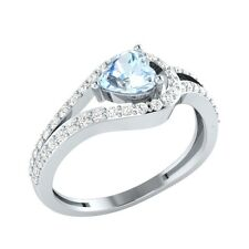 0.81ct Heart Shape Aquamarine & Sapphire Solid Gold Engagement Wedding Ring