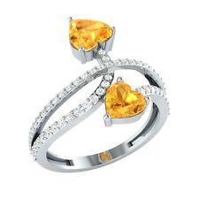 1.58ct Heart ShapeCitrine & White Sapphire Solid Gold Double Heart Bypass Ring