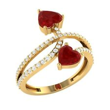1.58ct Heart & Round Ruby & White Sapphire Solid Gold Double Heart Bypass Ring