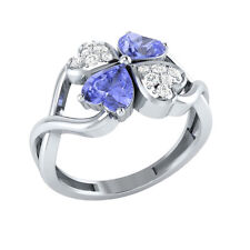 1.13ct Heart & Round Tanzanite & White Sapphire Solid Gold Heart Promise Ring