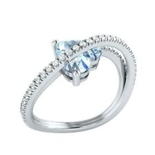 1.77ct Heart & Round Aquamarine & White Sapphire Solid Gold Heart Promise Ring
