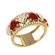 1.94ct Heart & Round Cut Ruby & White Sapphire Solid Gold Heart Ring