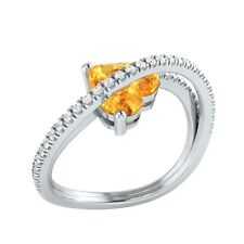 1.77ct Heart & Round Cut Citrine & White Sapphire Solid Gold Heart Promise Ring