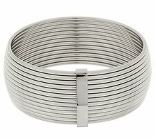 QVC Bold Wide Polished Ribbed Bangle Bracelet Solid Stainless Steel