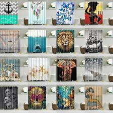 Polyester Waterproof Bathroom Shower Curtain Divider Panel With 12 Hook Set PICK