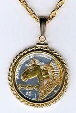 """2012 Sacagawea Dollar """"Reverse"""" Gold On Silver Coin Necklace"""