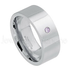 0.07ct Amethyst Solitaire Ring, February Birthstone, Pipe Cut Tungsten Ring #066