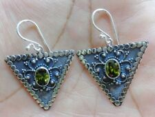 Gemstone Solid Silver, 925 Bali Handcrafted Triangle Design Earring 38983