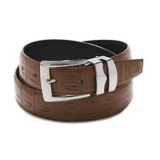 RUST BROWN Bonded Leather Belt HORNBACK ALLIGATOR Pattern Silver-Tone Buckle