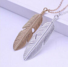 Feather Women Chain Pendant Long Jewelry Statement Sweater Vintage Necklace