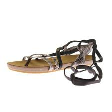 Roxy 4956 Womens Snake Print Ankle Wrap Flat Sandals Shoes BHFO
