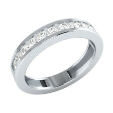 0.48 ct Round Cut White Sapphire Solid Gold Half Eternity Wedding Band Ring
