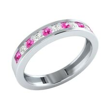 0.33 ct Round Pink & White Sapphire Solid Gold Half Eternity Wedding Band Ring