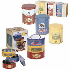 Set of Metal Cookie Biscuits Tea Coffee Sugar Canister Tin Food Kitchen Storage
