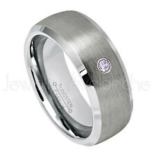 0.07ct Amethyst Solitaire Ring, February Birthstone, Tungsten Wedding Band #007