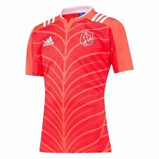 adidas Mens France Rugby Short Sleeve Training Jersey T-Shirt Top Tee Red