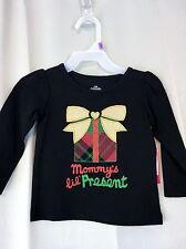 Girls Christmas 12M 24M, 3T 4T or 5T  black shirt MOMMYS Lil present gold bow