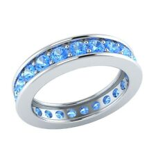 1.60 ct Round Cut Blue Topaz Solid Gold Full Eternity Wedding Band Ring Size 7
