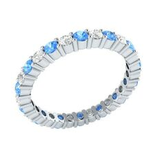 0.99 ct Blue Topaz & Sapphire Solid Gold Full Eternity Wedding Band Ring Size 7