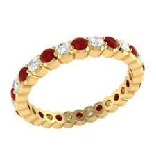 0.98 ct Red Ruby & Sapphire Solid Gold Full Eternity Wedding Band Ring Size 7