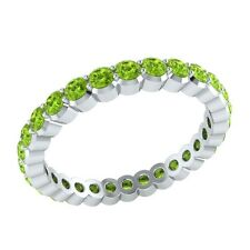 0.98 ct Round Green Peridot Solid Gold Full Eternity Wedding Band Ring Size 7