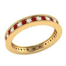 0.60 ct Red Ruby & Sapphire Solid Gold Wedding Full Eternity Band Ring Size O