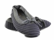 WOMENS GROSBY HOODIES BALLET STRIPE GREY SLIPPERS NIGHT SOFT SHOES SIZE S M L XL