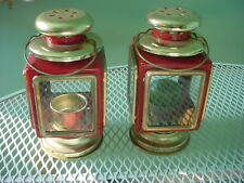2 Vintage RED TIN Punched LANTERN Candle Holders