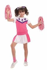 Pink Team Sports Cheerleader Uniform Child Girls Halloween Costume