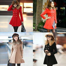Women Double Breasted Wool Trench Coat Slim Long Jacket Warm Overcoat Outwear